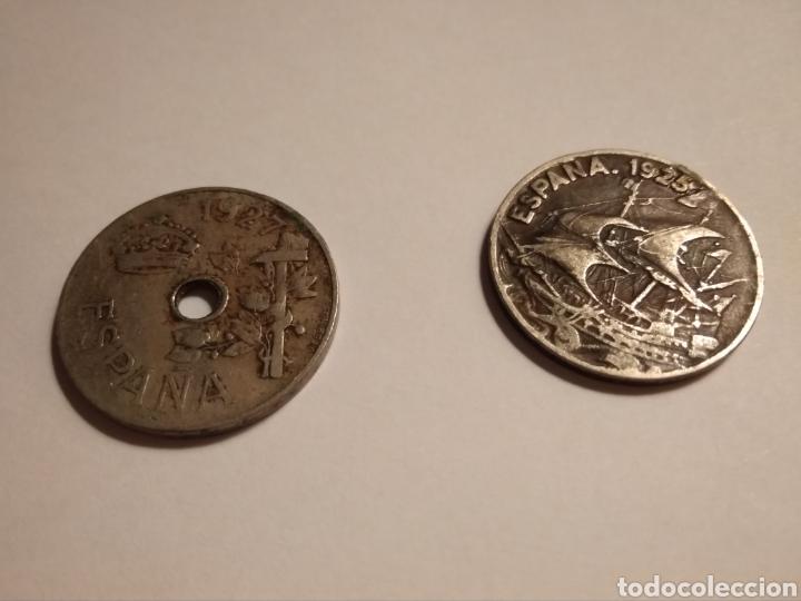 2 MONEDAS DE 25 CÉNTIMOS DE PESETA DE 1925 Y 2927 (Numismática - España Modernas y Contemporáneas - De Isabel II (1.834) a Alfonso XIII (1.931))