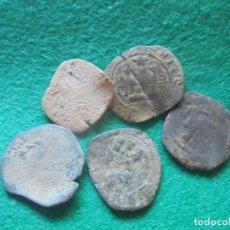 Monedas de España: LOTE DE 5 MONEDAS DE FELIPE II DE 2 CUARTOS. Lote 211396024