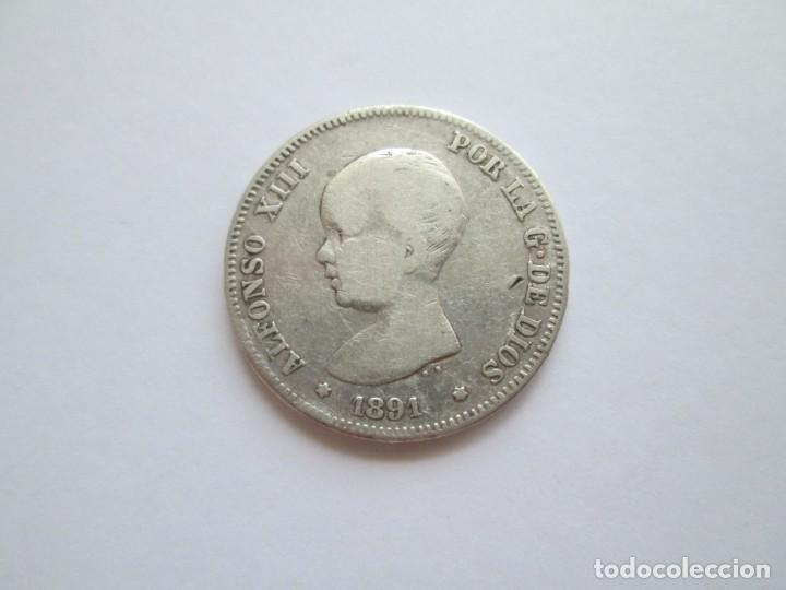 ALFONSO XIII * 2 PESETAS 1891 PG M * PLATA ESCASA (Numismática - España Modernas y Contemporáneas - De Isabel II (1.834) a Alfonso XIII (1.931))