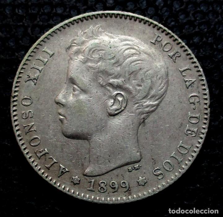 1 PESETA 1899 *18*-*--* ALFONSO XIII (3 FOTOS) -PLATA- (Numismática - España Modernas y Contemporáneas - De Isabel II (1.834) a Alfonso XIII (1.931))