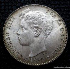 Monedas de España: 1 PESETA 1896 *18*-*96* ALFONSO XIII EBC ++ (3 FOTOS) -PLATA-. Lote 211678601