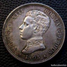 Monedas de España: 2 PESETAS 1905 *19*-*05* ALFONSO XIII (4 FOTOS) -PLATA-. Lote 211829158