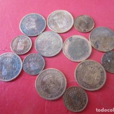 Monedas de España: LOTE DE 13 MONEDAS DE 1 Y 2 CENTIMOS DE ALFONSO XIII. Lote 221581060