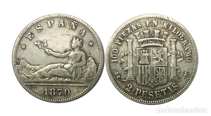 2 PESETAS 1870 *18*73 GOBIERNO PROVISIONAL, MBC (Numismática - España Modernas y Contemporáneas - De Isabel II (1.834) a Alfonso XIII (1.931))