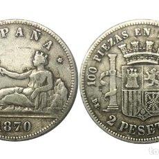 Monedas de España: 2 PESETAS 1870 *18*73 GOBIERNO PROVISIONAL, MBC. Lote 212703882