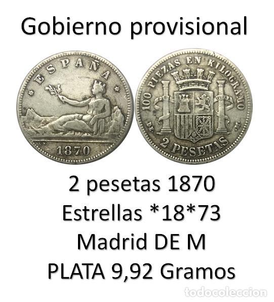 Monedas de España: 2 PESETAS 1870 *18*73 GOBIERNO PROVISIONAL, MBC - Foto 2 - 212703882