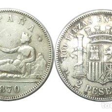 Monedas de España: 2 PESETAS 1870 *18*74 GOBIERNO PROVISIONAL, MBC. Lote 212703983