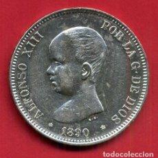 Monedas de España: MONEDA PLATA 5 PESETAS ALFONSO XIII DURO DE PLATA 1890 ESTRELLAS VISIBLES 18 90 EBC- ORIGINAL D2784. Lote 212763333