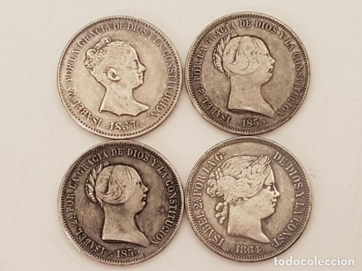 4 MONEDAS 20 REALES DE ISABEL II, M.C.L. 1837 - 1855 (2), - 1861, PLATA 900 (Numismática - España Modernas y Contemporáneas - De Isabel II (1.834) a Alfonso XIII (1.931))