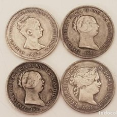 Monedas de España: 4 MONEDAS 20 REALES DE ISABEL II, M.C.L. 1837 - 1855 (2), - 1861, PLATA 900. Lote 213325567