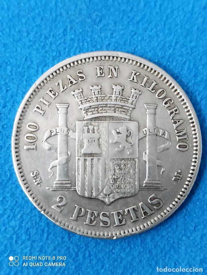Monedas de España: España 2 pesetas, 1869 18 y 68 dentro de la estrella MBC+ Plata - Variante ref 3018 - Foto 2 - 214475492