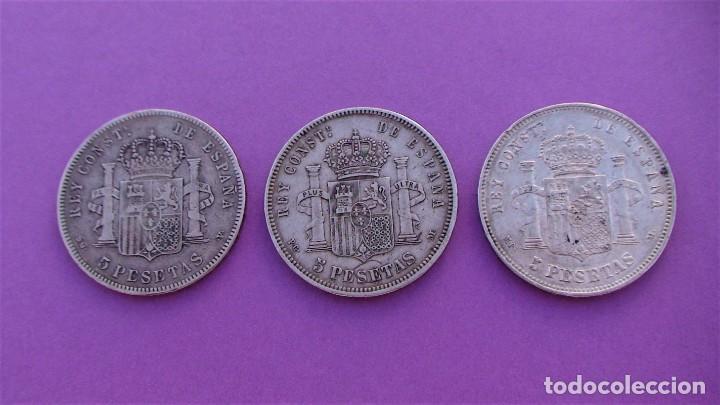 LOTE 3 DUROS DE PLATA (ALFONSO-XIII 1890 *18/90) (ALFONSO-XIII 1888 *18/88) (ALFONSO-XIII 1898 *18) (Numismática - España Modernas y Contemporáneas - De Isabel II (1.834) a Alfonso XIII (1.931))