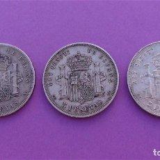 Monedas de España: LOTE 3 DUROS DE PLATA (ALFONSO-XIII 1890 *18/90) (ALFONSO-XIII 1888 *18/88) (ALFONSO-XIII 1898 *18). Lote 214529743
