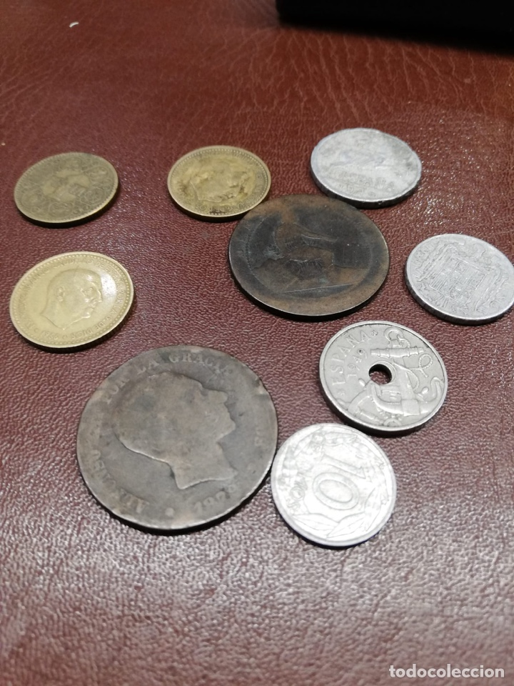 9 MONEDAS PESETAS ESPAÑOLAS HISTÓRICAS DESDE 1879 A 1966 (Numismática - España Modernas y Contemporáneas - De Isabel II (1.834) a Alfonso XIII (1.931))