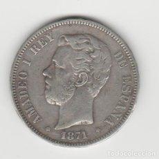 Monedas de España: AMADEO I- 5 PESETAS- 1871*18-71 SDM. Lote 215088373
