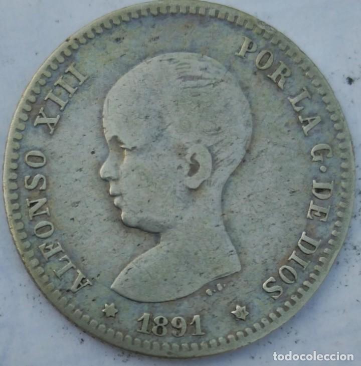 ESPAÑA 1 PESETA 1891 ESTRELLAS *-- * 91 PLATA. ¡¡¡¡LIQUIDACION COLECCION!!!!! (Numismática - España Modernas y Contemporáneas - De Isabel II (1.834) a Alfonso XIII (1.931))