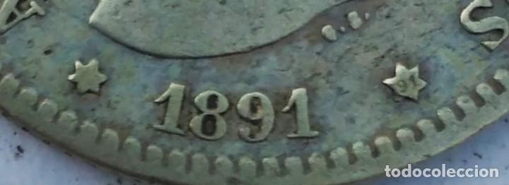 Monedas de España: ESPAÑA 1 peseta 1891 ESTRELLAS *-- * 91 PLATA. ¡¡¡¡LIQUIDACION COLECCION!!!!! - Foto 2 - 215498071