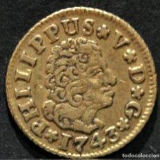 Monedas de España: MONEDA ORO ½ MEDIO ESCUDO 1743 SEVILLA FELIPE V ESPAÑA. Lote 215687335