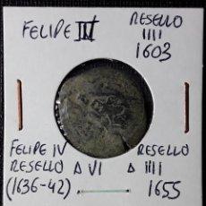 Monedas de España: FELIPE III RESELLO A IIII 1603 - FELIPE IV RESELLO A VI Y A IIII 1655. Lote 216523540
