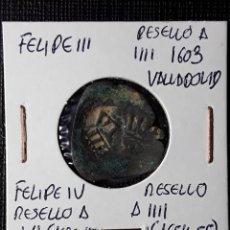 Monedas de España: FELIPE III RESELLO A IIII 1603 VALLADOLID- FELIPE IV RESELLO A VI Y A IIII 1654-55. Lote 216523591