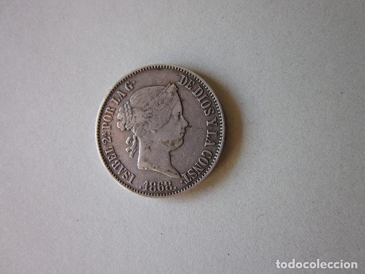 ESCUDO DE ISABEL II. MADRID 1868. 18-68. PLATA. (Numismática - España Modernas y Contemporáneas - De Isabel II (1.834) a Alfonso XIII (1.931))