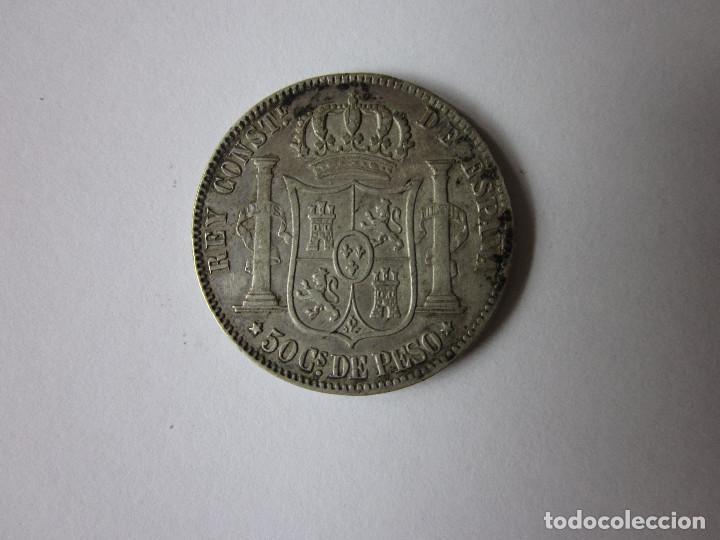 Monedas de España: Cincuenta Centavos de Peso de Alfonso XII. Filipinas. 1883. Plata. - Foto 2 - 217000558