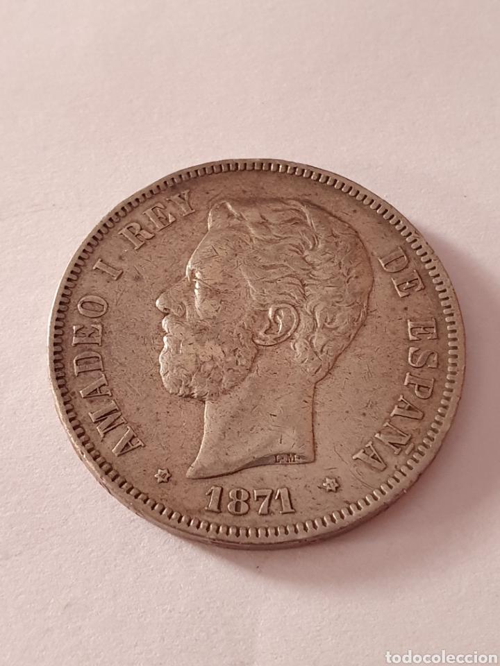 5 PESETAS DE AMADEO I REY DE ESPAÑA 1871 (*18-71) (Numismática - España Modernas y Contemporáneas - De Reyes Católicos (1.474) a Fernando VII (1.833))