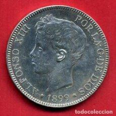 Monedas de España: MONEDA PLATA 5 PESETAS DURO DE PLATA 1899 ESTRELLAS VISIBLES 18 99 EBC ORIGINAL , B32. Lote 217725128