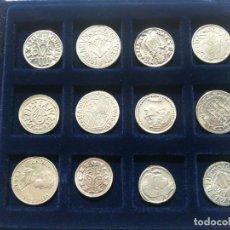 Monete da Spagna: COLECCIÓN MONEDAS ACUÑACIONES VALENCIANAS VARIAS ÉPOCAS. REPRODUCCIÓN EN PLATA 800. 12 MONEDAS.. Lote 218060750