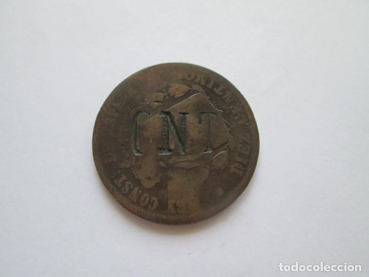 ALFONSO XII * RESELLO SOBRE MONEDA DE 10 CENTIMOS * CNT * (Numismática - España Modernas y Contemporáneas - De Isabel II (1.834) a Alfonso XIII (1.931))