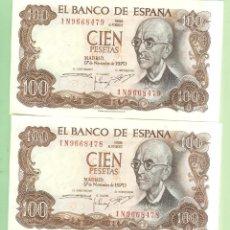 Monedas de España: 2 BILLETES CORRELATIVOS DE 100 PESETAS 1970. SERIE 1N. Lote 218943625