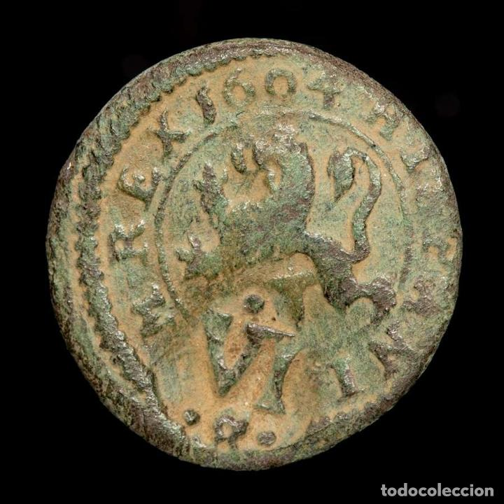 FELIPE III, IIII MARAVEDIS. SEGOVIA, 1604. RESELLO VI TRUJILLO 1641 (Numismática - España Modernas y Contemporáneas - De Reyes Católicos (1.474) a Fernando VII (1.833))