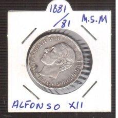 Monedas de España: MONEDA ESPAÑOLA DE PLATA ALFONSO XII 1881/81 M.S.M. 2 PESETAS. Lote 219322160