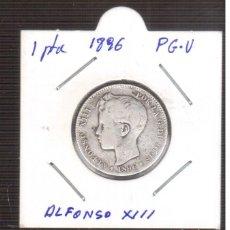 Monedas de España: MONEDA ESPAÑOLA DE PLATA ALFONSO XIII 1896 P.G.M. 1 PESETA. Lote 219323312