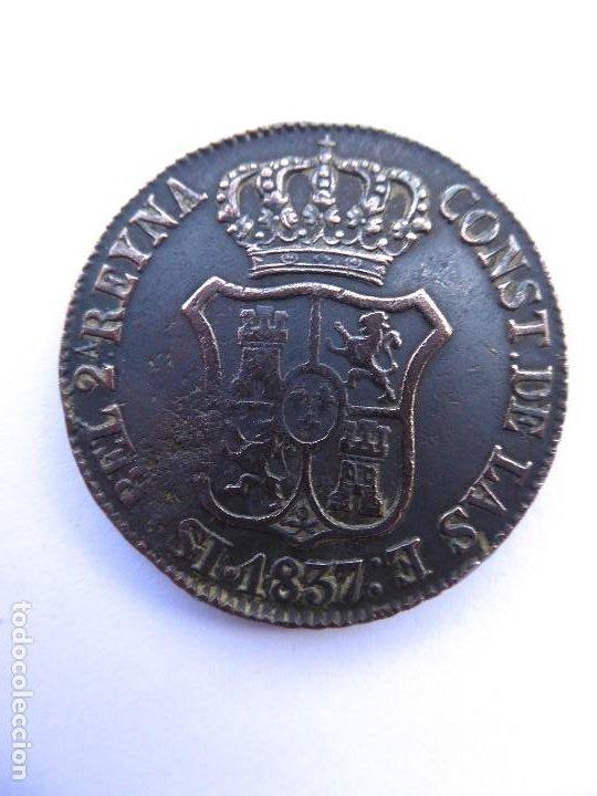 Monedas de España: BILL-149. MONEDA 6 CUART DE COBRE. PRINCIPAT DE CATALUNYA. ÉPOCA ISABEL II. AÑO 1837 - Foto 2 - 219333502