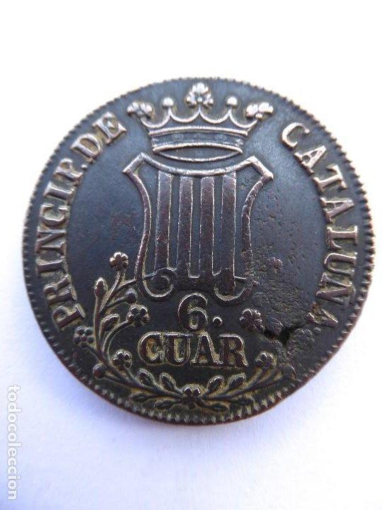BILL-149. MONEDA 6 CUART DE COBRE. PRINCIPAT DE CATALUNYA. ÉPOCA ISABEL II. AÑO 1837 (Numismática - España Modernas y Contemporáneas - De Isabel II (1.834) a Alfonso XIII (1.931))