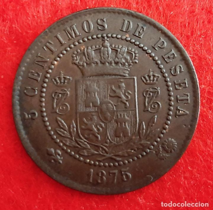 Monedas de España: MONEDA COBRE CARLOS VII 5 CENTIMOS 1875 MBC++ EBC ORIGINAL B41 - Foto 2 - 219504655