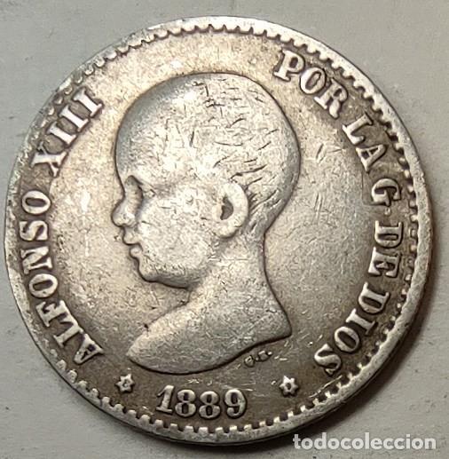 ESPAÑA 50 CENTIMOS 1889 ESTRELLAS *8*9 PERFECTAS, PLATA. ¡¡¡¡LIQUIDACION COLECCION!!!! (Numismática - España Modernas y Contemporáneas - De Isabel II (1.834) a Alfonso XIII (1.931))