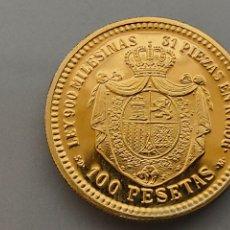 Monedas de España: MONEDA 100 PESETAS 1870 *18 70 6,75GR. PLATA BAÑO DE ORO REPRODUCCIÓN FNMT. Lote 220295178