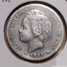 Monedas de España: ALFONSO XIII 1893, UNA PESETA PLATA 18*93*. Lote 169689033