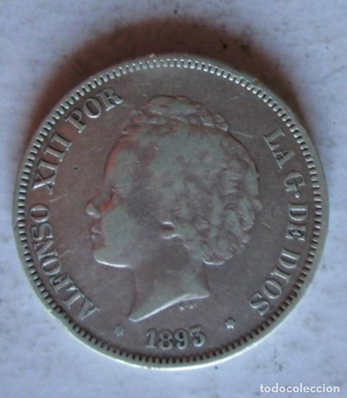 ALFONSO XIII- 5 P -1893 PG L PLATA (Numismática - España Modernas y Contemporáneas - De Isabel II (1.834) a Alfonso XIII (1.931))