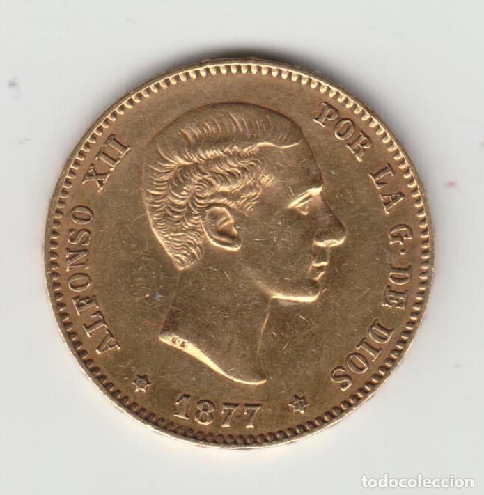 MONEDA 25 PESETAS - ALFONSO XII - 1877 - ORO (ORIGINAL) (Numismática - España Modernas y Contemporáneas - De Isabel II (1.834) a Alfonso XIII (1.931))