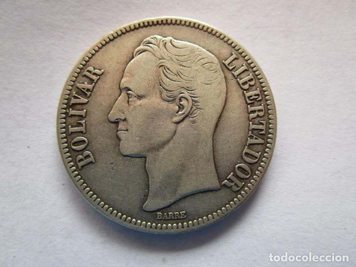 VENEZUELA . 5 BOLIVARES DE PLATA MUY ANTIGUOS . TAMAÑO GRANDE . MAGNIFICA PIEZA (Numismática - España Modernas y Contemporáneas - De Isabel II (1.834) a Alfonso XIII (1.931))