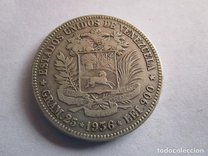 Monedas de España: VENEZUELA . 5 BOLIVARES DE PLATA MUY ANTIGUOS . TAMAÑO GRANDE . MAGNIFICA PIEZA - Foto 2 - 221510080