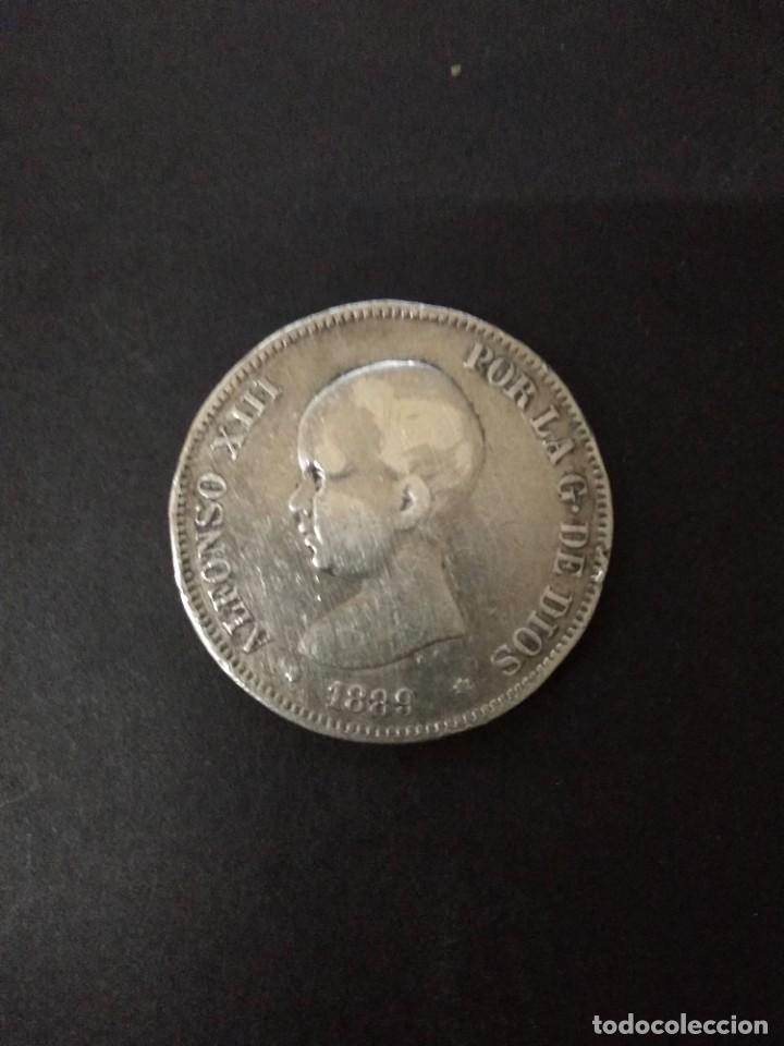 BONITA MONEDA DE 5 PESETAS PLATA DE ALFONSO XIII. AÑO 1889. (Numismática - España Modernas y Contemporáneas - De Isabel II (1.834) a Alfonso XIII (1.931))