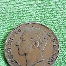 Monedas de España: 5 PESETAS DE PLATA DE 1885 DE ALFONSO XII CON BARBA. 37 MM DE DIÁMETRO Y 25G DE PLATA 900. Lote 221655070