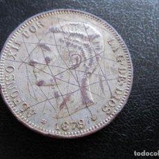 Monedas de España: MONEDA CINCO PESETAS ALFONSO XII 1871 FALSO DE EPOCA BAÑO DE PLATA CON BASE DE COBRE. Lote 221663990