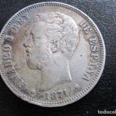 Monedas de España: MONEDA CINCO PESETAS EN PLATA AMADEO I 1871 ESTRELLA 18 - 75 VISIBLE. Lote 221664223