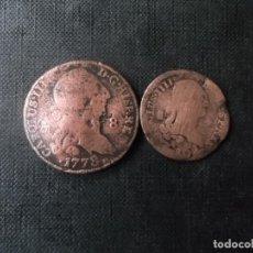Monedas de España: CONJUNTO DE 2 PIEZAS DE 8 Y 4 MARAVEDIS 1778 CARLOS III. Lote 221669018