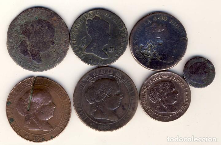 LOTE DE SIETE MONEDAS DE ISABEL II.- VER DESCRIPCIÓN.- (Numismática - España Modernas y Contemporáneas - De Isabel II (1.834) a Alfonso XIII (1.931))
